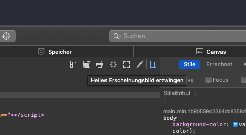 Safari 12.1 Developer Tools Switch to Dark Mode